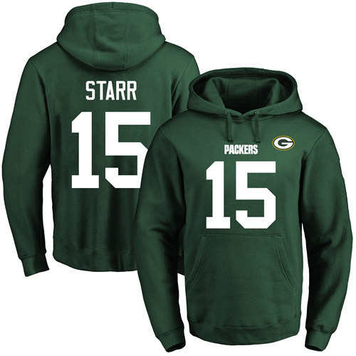 Football Men's  Green Bay Packers #15 Bart Starr Green Name & Number Pullover Hoodie