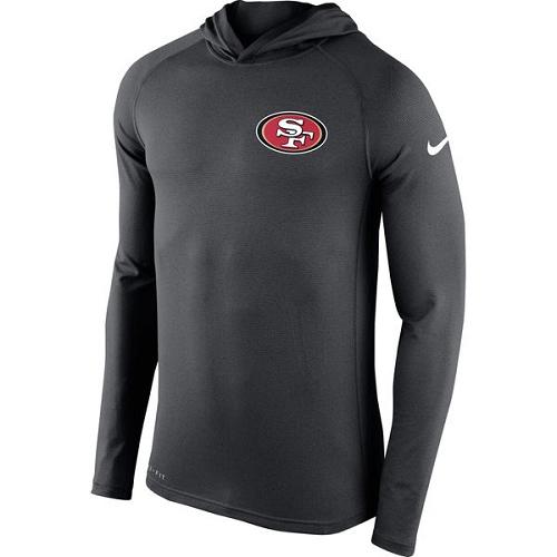 Football Men's San Francisco 49ers  Charcoal Stadium Touch Hooded Performance Long Sleeve T-Shirt