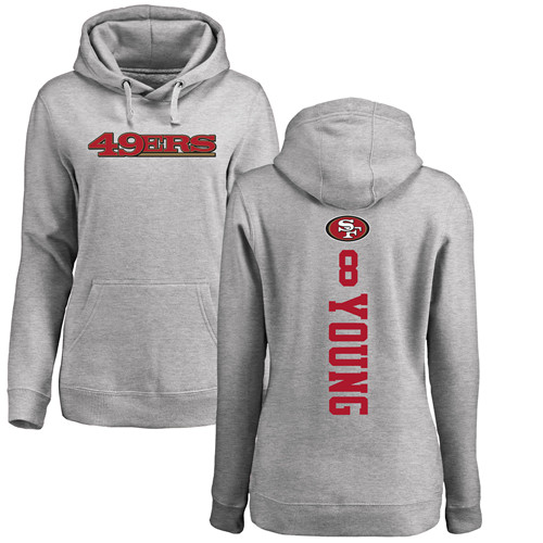 Women's Steve Young Ash Backer Football : San Francisco 49ers #8 Pullover Hoodie