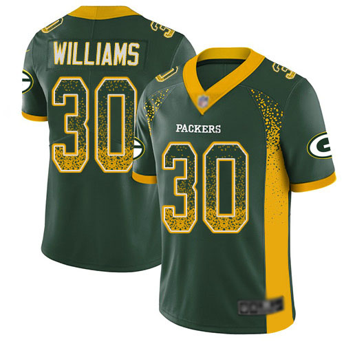 Youth Jamaal Williams Green Limited Football Jersey: Green Bay Packers #30 Rush Drift Fashion  Jersey