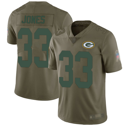 Youth Aaron Jones Olive Limited Football Jersey: Green Bay Packers #33 2017 Salute to Service  Jersey