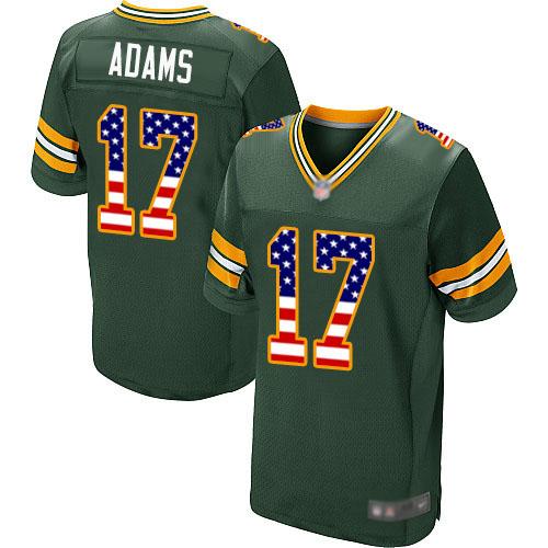 Men's Davante Adams Green Home Elite Football Jersey: Green Bay Packers #17 USA Flag Fashion  Jersey