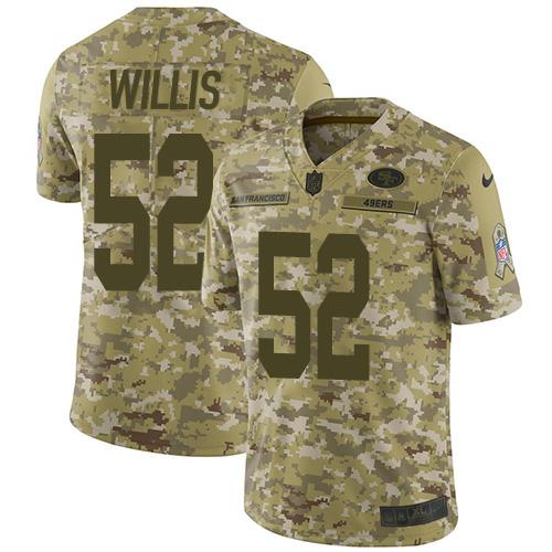 Men's Patrick Willis Camo Limited Football Jersey: San Francisco 49ers #52 2018 Salute to Service  Jersey