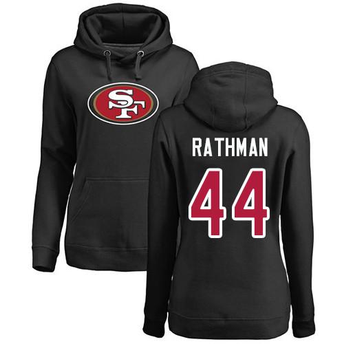 Women's Tom Rathman Black Name & Number Logo Football : San Francisco 49ers #44 Pullover Hoodie