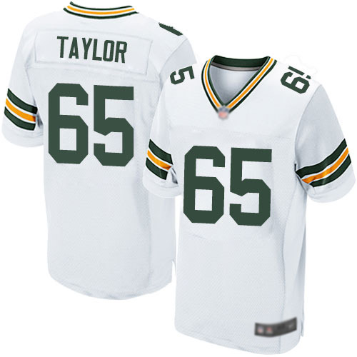 Men's Lane Taylor White Road Elite Football Jersey: Green Bay Packers #65  Jersey