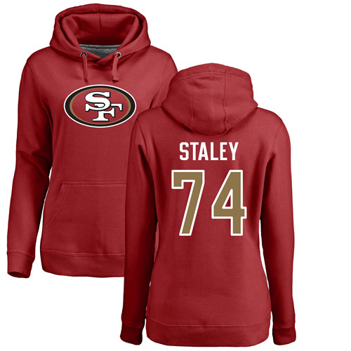 Women's Joe Staley Red Name & Number Logo Football : San Francisco 49ers #74 Pullover Hoodie