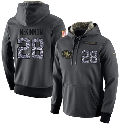 Football Men's  San Francisco 49ers #28 Jerick McKinnon Stitched Black Anthracite Salute to Service Player Performance Hoodie