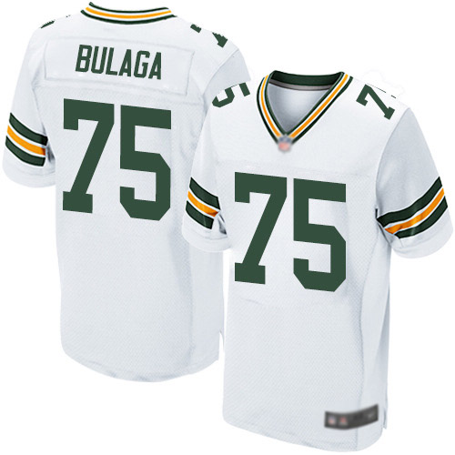 Men's Bryan Bulaga White Road Elite Football Jersey: Green Bay Packers #75  Jersey