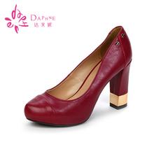 浅口防水台粗跟时尚 1013404037 高跟女单鞋 达芙妮专柜正品 Daphne