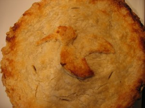 Dad puts a different shape on the top of the pie every year.