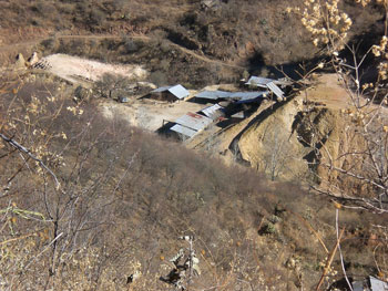 Mill site from above pit. Note Ore stockpile