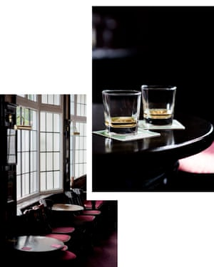 Detail of whisky glasses in bar