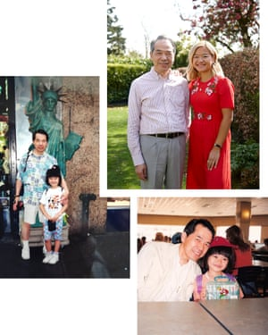 Collage of pictures of Amy Lo and her father, James