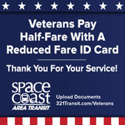 WATCH: Space Coast Area Transit Salutes All Military Veterans With Special Half Fare Rate