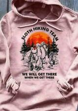 Sloth Hiking Team We'll Get There When We Get There Hoodie Unisex Light Pink