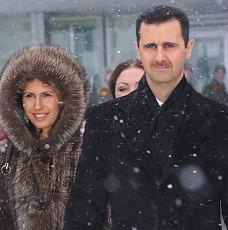 Bashar al-Assad with wife, Asma, during state visit to Russia in 2005.