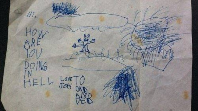 Dear Dad, How's Hell? is listed (or ranked) 35 on the list 51 Unintentionally Hilarious Kids' Drawings