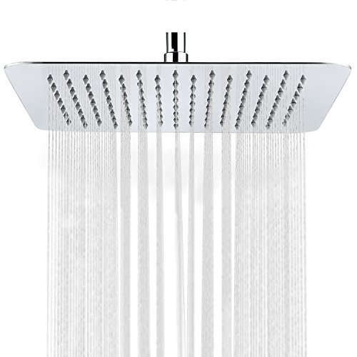 LORDEAR F01082CH Solid Square Ultra-Thin 304 Stainless Steel 12-Inch Adjustable Rain Showerhead with Polish Chrome
