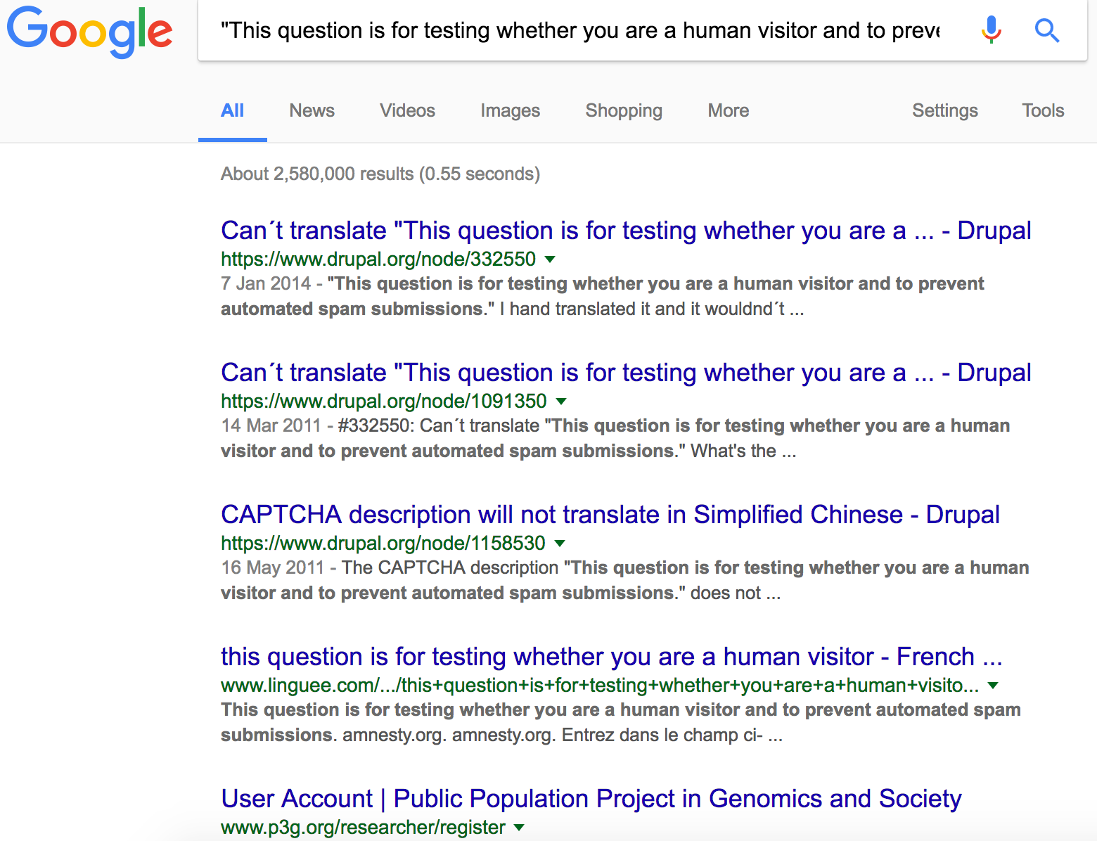 Third drupal footprint search results