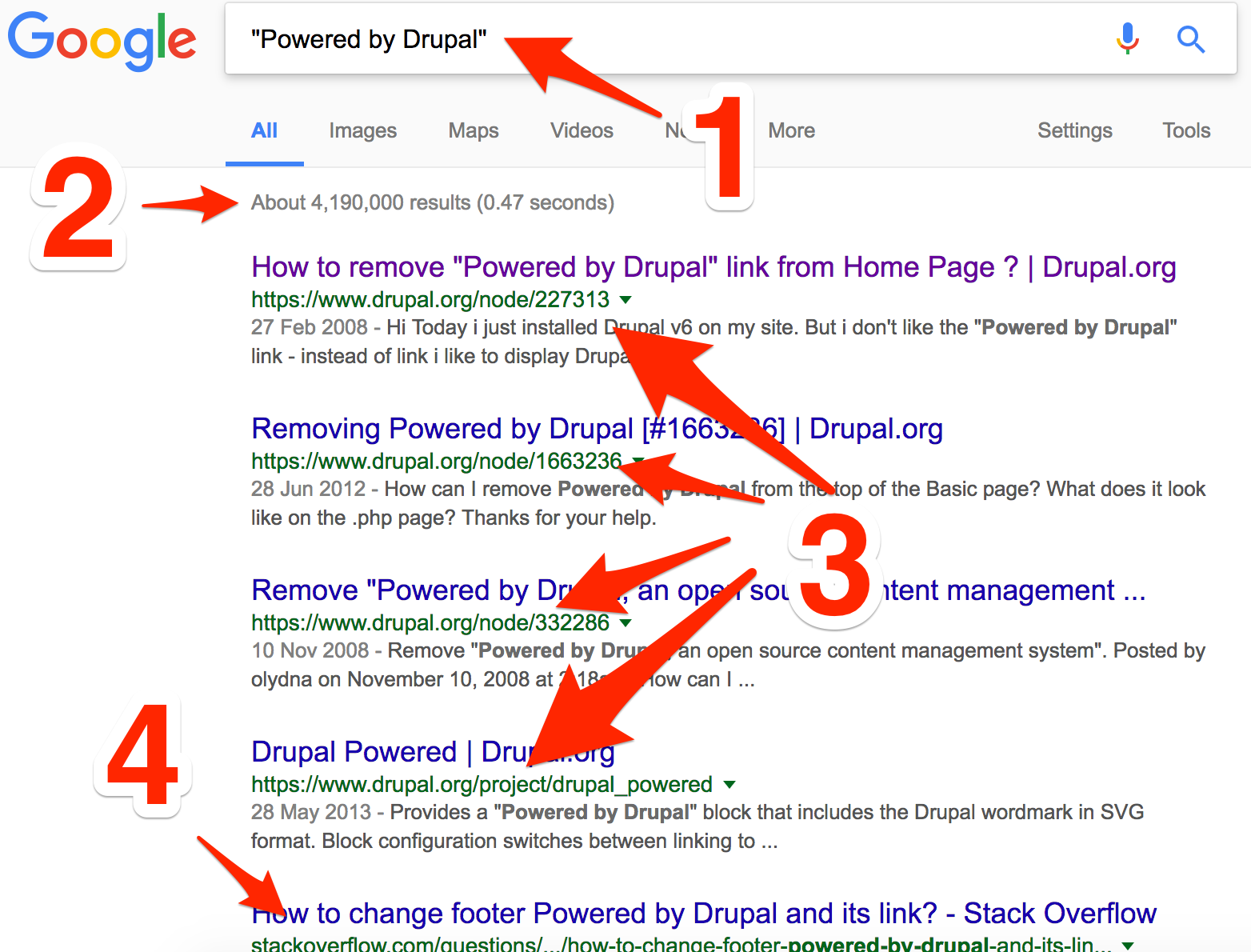 Powered By Drupal Footprint Google search