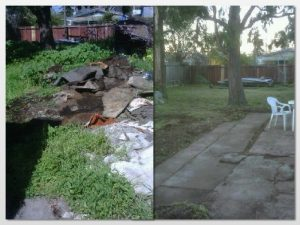 a before after shot of hauling services we provided when performing a yard clean up