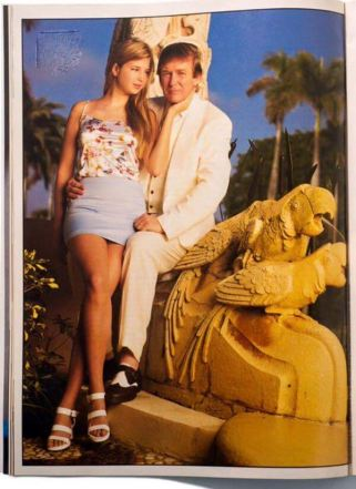 Trump with Ivanka again in 1996 at Mar-A-Lago perched above two mating parrots.