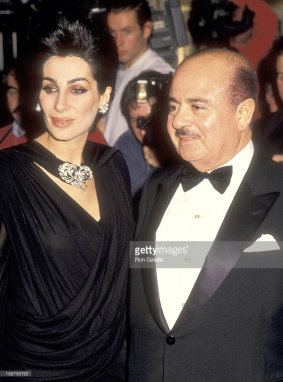 Khashoggi with then wife at Donald Trump's wedding to Marla Maples