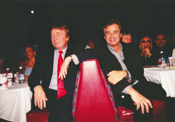 Donald Trump (left) among some friends, including Ramy El-Batwari (right, in back) at a Hawaiian Tropic bikini competition. Date unknown.