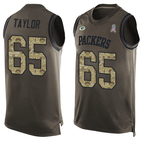 Men's Lane Taylor Green Limited Football Jersey: Green Bay Packers #65 Salute to Service Tank Top  Jersey