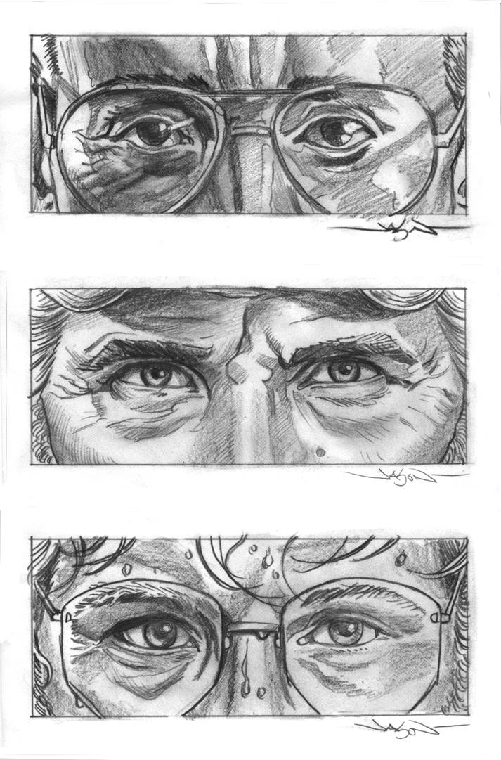 'Jaws' portraits in pencil by Jason Edmiston for MondoCon 2015