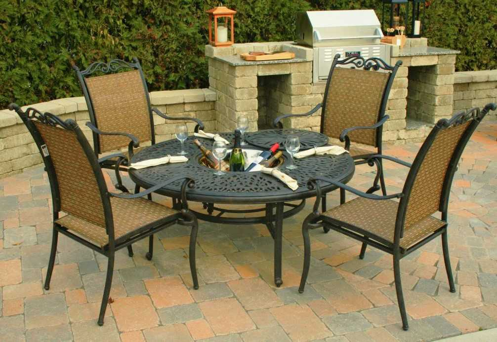 built-in braai area on a patio paved in cobblestones