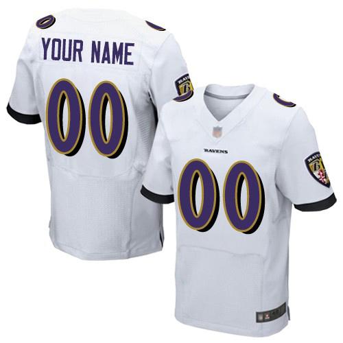 Men's White Road Elite Football Jersey: Baltimore Ravens Customized  Jersey