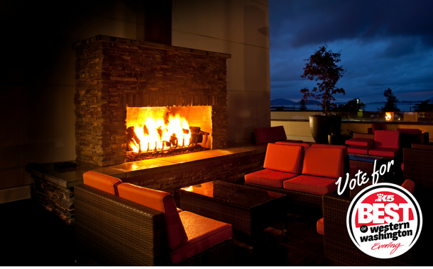 13moons in Anacortes, WA features an outdoor fireplace on the patio.