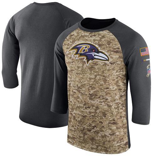 Football Men's Baltimore Ravens  Camo Anthracite Salute to Service Sideline Legend Performance Three-Quarter Sleeve T-Shirt