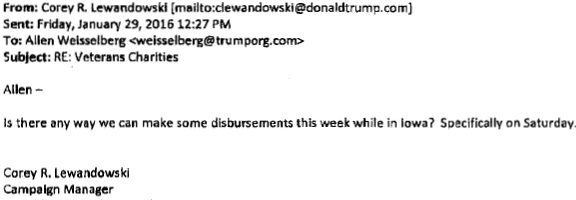 Email addressed from Trump campaign manager, Corey R. Lewandowski, to Trump Foundation representative, Allen Weisselberg