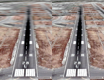 Linear filtering (left) produces noticeable blurring on surfaces that appear at oblique angles to the viewer. Anisotropic filtering (right) can improve the appearance of surfaces that appear at oblique angles to the viewer.