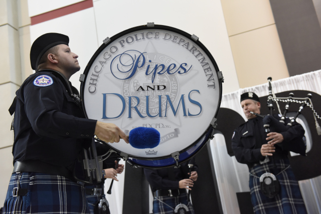 Chicago Police Department Pipes and Drums kicks off the IACP 2015 Ribbon Cutting Ceremony.