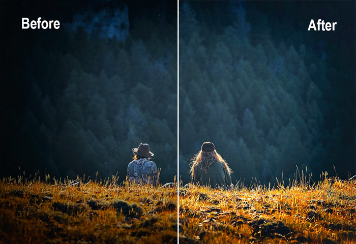A before and after removing vignetting from a photo of a couple sitting in nature