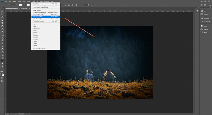 A screenshot of opening Filter>Lens Correction to remove vignetting from a photo on Photoshop