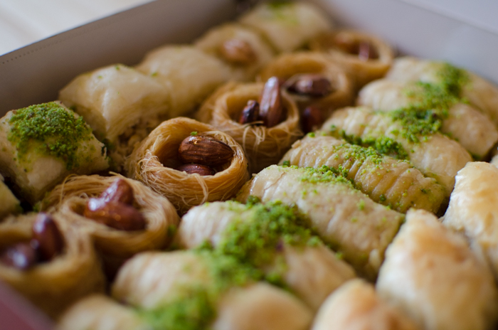 lines of tasty baklawa sweets - ettr technique