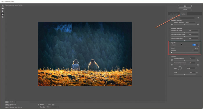 A screenshot of how to remove vignetting from a photo on Photoshop