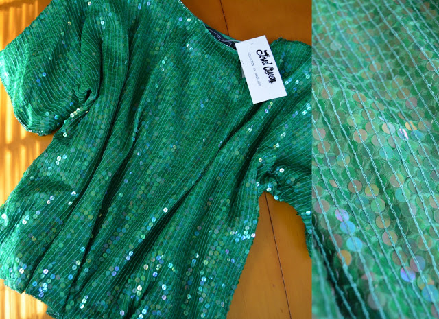 green sequin blouse from an estate sale