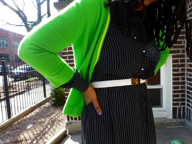 Black and white stries with neon green cardigan