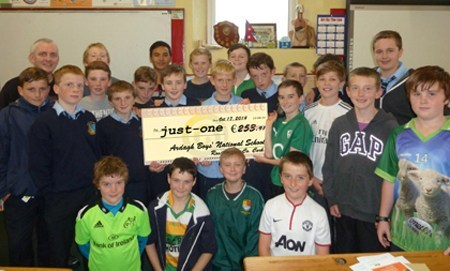 Boys, past & present, at Ardagh NS ending our trip with a €253 donation