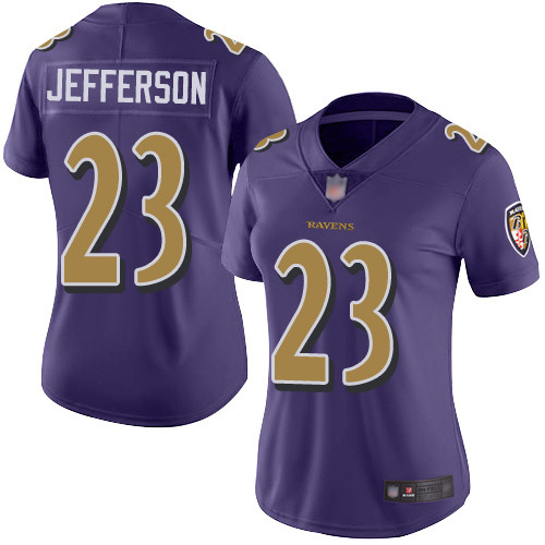 Women's Tony Jefferson Purple Limited Football Jersey: Baltimore Ravens #23 Rush Vapor Untouchable  Jersey