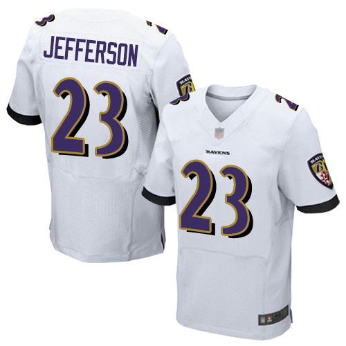 Men's Tony Jefferson White Road Elite Football Jersey: Baltimore Ravens #23  Jersey