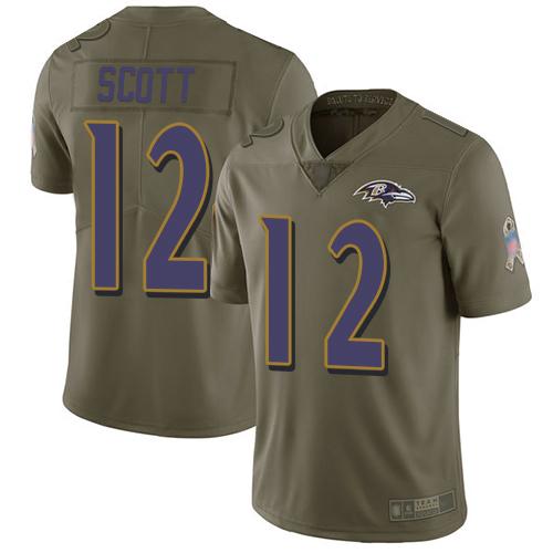 Men's Jaleel Scott Olive Limited Football Jersey: Baltimore Ravens #12 2017 Salute to Service  Jersey