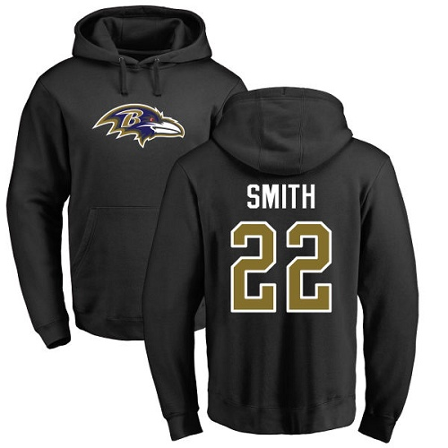 Jimmy Smith Black Name & Number Logo Football : Baltimore Ravens #22 Pullover Hoodie