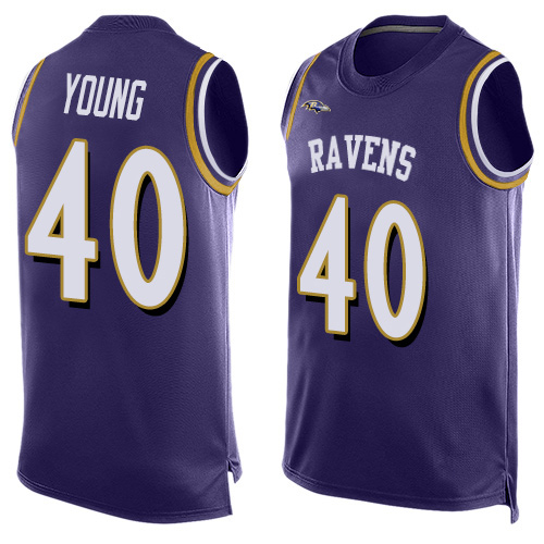 Men's Kenny Young Purple Elite Football Jersey: Baltimore Ravens #40 Player Name & Number Tank Top  Jersey