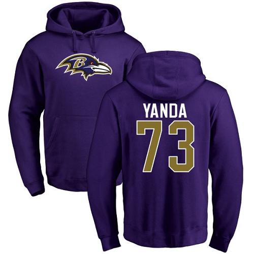 Marshal Yanda Purple Name & Number Logo Football : Baltimore Ravens #73 Pullover Hoodie